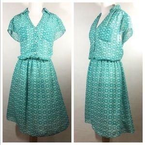 Vintage Blue-green Sheer Dress by R and K Original